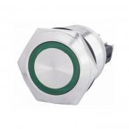 Кнопка металлическая плоская 22мм с подсветкой  1NO+1NC, зеленая 220V TYJ 22-271зел АСКО-УКРЕМ