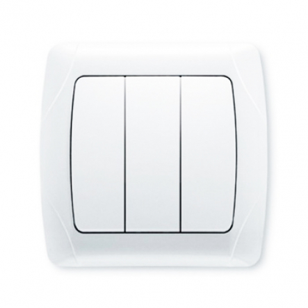 Выключатель трехклавишный белый VIKO Серия CARMEN - 1