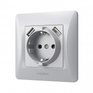 Розетка Videx Binera одинарная с заземлением и USB Серебренный шелк (VF-BNSK1GU2-SS)
