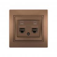 Розетка компьютерная 2-я светло-коричневый перламутр с/вст. MIRA