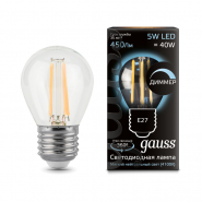 Лампа Gauss LED Filament   Шар dimmable E27 5W 450lm 4100K