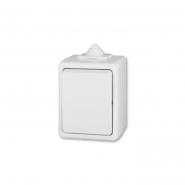 Выключатель одноклавишный проходной нкружной установки белый IP44  Practik