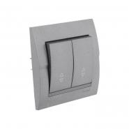 Выключатель 2-кл проходной темно серый металлик DERIY