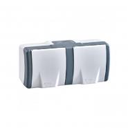 Розетка двойная без заземления Mono Octans без шторок с крышкой серый 154-020006-121