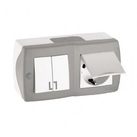 Выключатель 2кл+розетка с заземлением с крышкой накладной Mono Electric, OCTANS IP 20 серый - 1
