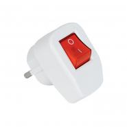 Вилка с заземлением угловая с кнопкой (Белая) DE-PA 11128