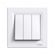 Выключатель 3-кл. самозаж. белый ASFORA