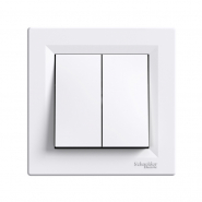 Выключатель 2-клавишный самозажимной белый ASFORA