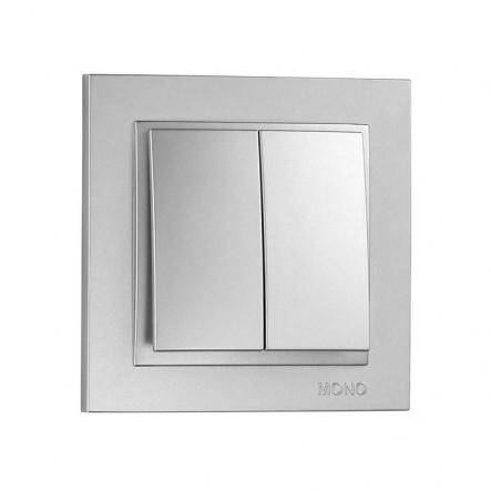 Выключатель 2 кл. Mono Electric, DESPINA (серебро) - 1
