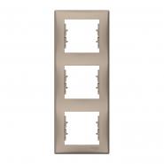 Рамка тройная вертикальная титан