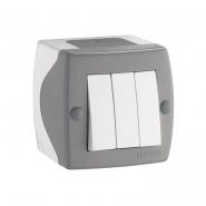 Выключатель 3 кл накладной Mono Electric, OCTANS IP 20 серый