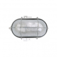 Светильник НПП 2604 60W белый-овал с алюмин решеткой пластик. корпус IP54