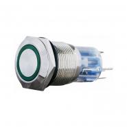 Кнопка метал. с подсв. 1NO+1NC, зеленая 220V  TYJ 19-271зел АСКО-УКРЕМ
