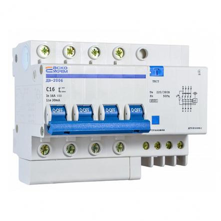 Автоматический выключатель дифференциального тока АСКО-УКРЕМ ДВ-2006 4р C 25А/30 мА - 1