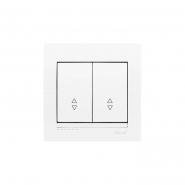 Выключатель двойной проходной с белой вставкой белый MIRA LEZARD