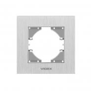 Рамка серебрянный алюминий одинарная горизонтальная VIDEX BINERA