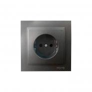 Розетка  1-я без заземления  , Mono Electric, DESPINA   ( графит )
