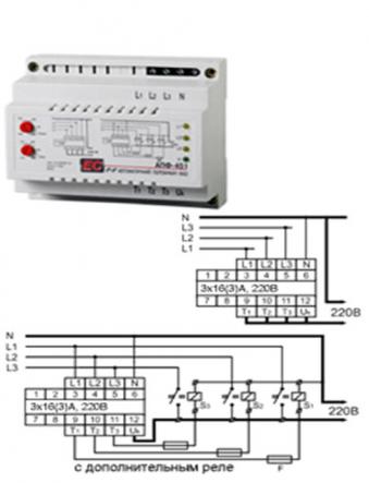 Автомат. переключатель фаз PF-451 (АПФ-451) 380В 16А 3S Электросвит - 1