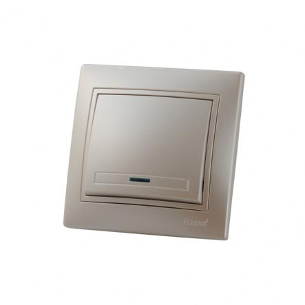 Выключатель 1-кл с подсветкой жемчужно-белый перламутр со вставкой MIRA. - 1