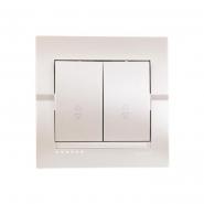Выключатель 2-кл.проходной жемчужно-белый металлик DERIY