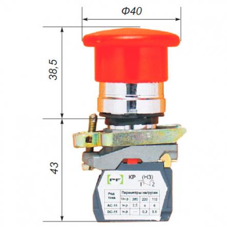 """Выключатель кнопочный ВК-011НГрК 1Р (грибок с возвратом, """"красный"""") укр.Промфактор - 1"""