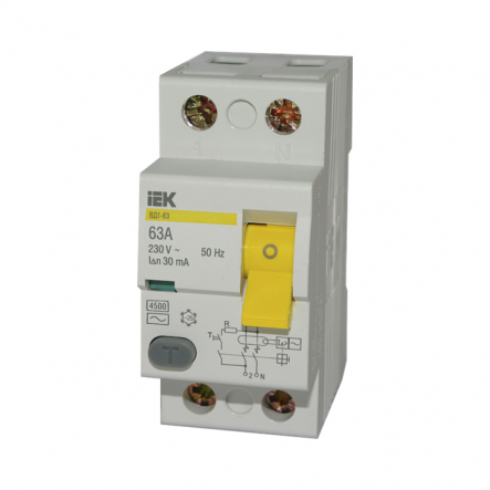 Устройство защитного отключения УЗО IEK ВД1-63 2p 63A/30мА - 1