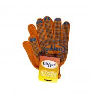 Перчатки трикотажные оранж.с ПВХ точкой 78412