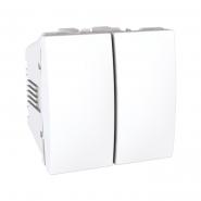 Переключатель двухклавишный белый 2 модуля Unika