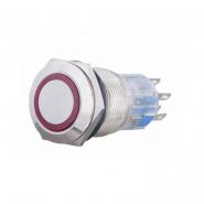 Кнопка металлическая плоская с подсветкой 2NO+2NC, красная220V TYJ 19-272красн АСКО-УКРЕМ