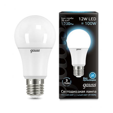 Лампа Gauss LED Black A60 12W E27 4100K - 1