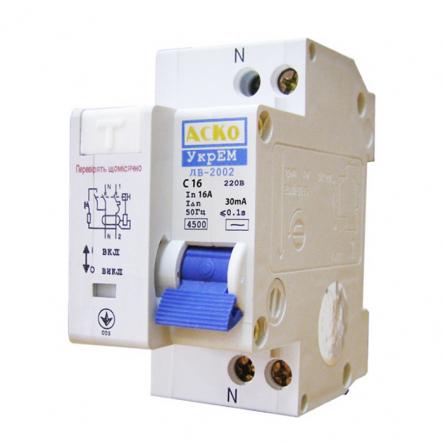 Автоматический выключатель дифференциального тока АСКО-УКРЕМ ДВ-2002 2р C 20А/30мА - 1