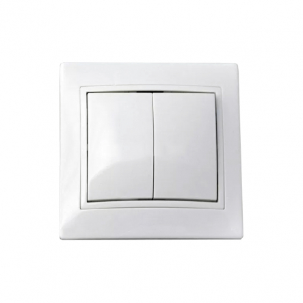 Выключатель двухклавишный ВВсб10-2-0-FL-W белый - 1