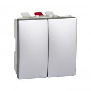 Выключатель двухклавишный алюминий Unika