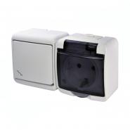 Микс горизонтальный (проходной выключатель+1-я розетка schuko дымчатая крышка) (IP44) VRHH-3sd