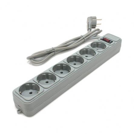 Сетевой фильтр 6гнезд 1.8м серый Gembird - 1