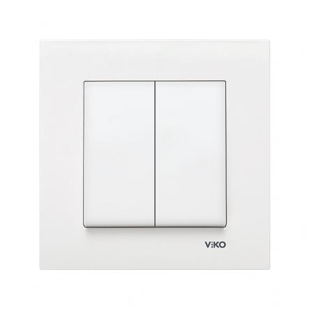 Выключатель двухклавишный белый VIKO Серия KARRE - 1