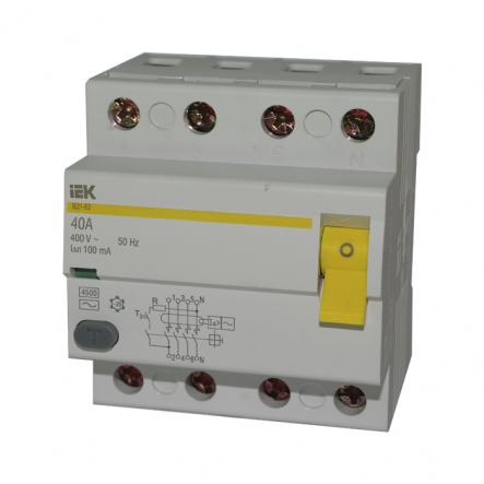Устройство защитного отключения УЗО IEK ВД1-63 4p 40A/30мА - 1