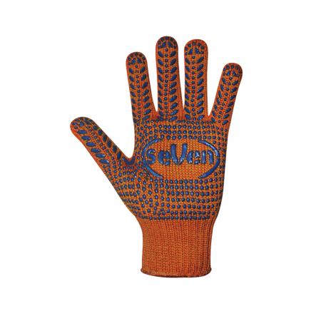 Перчатки трикотажные оранж.с ПВХ точкой 71062 - 1