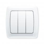 Выключатель трехклавишный белый VIKO Серия CARMEN