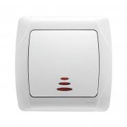 Выключатель одноклавишный с подсветкой белый VIKO Серия CARMEN