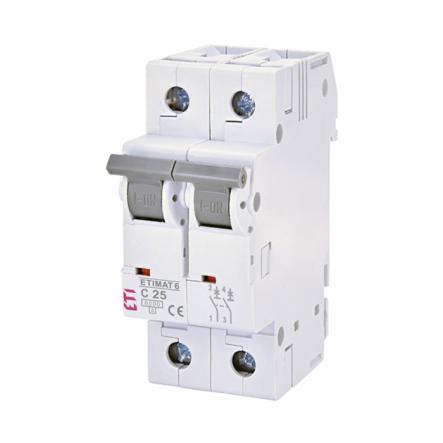 Автоматический выключатель ETI 6 2p C 25А (6 kA) 2143518 - 1
