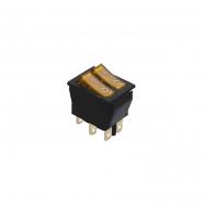 Переключатель  Lemanso  LSW04 двойной жёлтый с подсветкой / KCD2-2101N