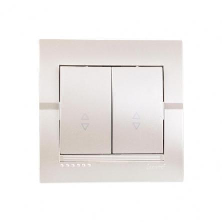 Выключатель 2-кл.проходной жемчужно-белый металлик DERIY - 1