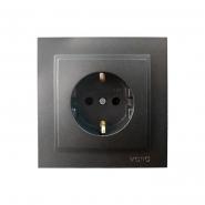 Розетка  1-я с заземлением  , Mono Electric, DESPINA   ( графит )