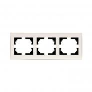 Рамка 3-я горизонтальная  с боковой вставкой жемчужно-белый перламутр Lezard серия RAIN