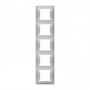 Рамка пятерная вертикальная алюминий