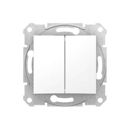 Выключатель двухклавишный белый - 1