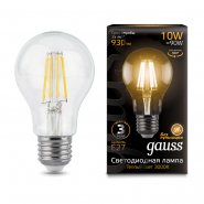 Лампа Gauss LED Black FIL А60 10W E27 2700К