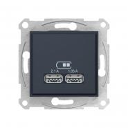 Розетка USB 2.1A графіт Sedna