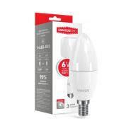 Лампа LED C37 CL-F 6W 3000K 220V E14 Maxus